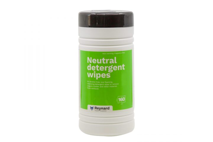 Canister of neutral detergent wipes
