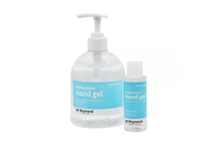small and large bottle of reynard antibacterial hand gel