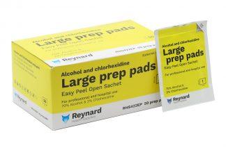 Box and sachet of Reynard prep pads