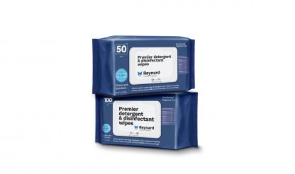 Two packs of Reynard premier detergent and disinfectant wipes